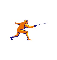 Fencing thrust side view retro vector