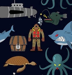 Deep sea seamless pattern diver and shark on black vector