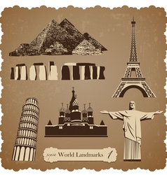 Travel icon set1 sepia silhouettes vector