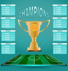 Champions groups and teams template vector