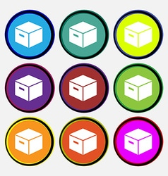 Packaging cardboard box icon sign nine multi vector