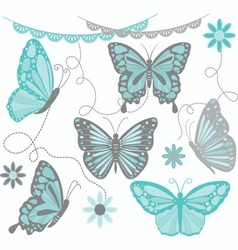 Aqua and grey butterfly collections vector