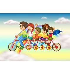 A family bike with a group of people riding vector image vector image
