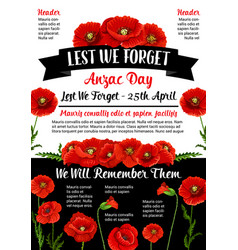 Anzac day lest we forget 25 april poster vector