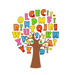 Art tree with letters of alphabet vector