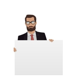Businessman with white board for the website vector