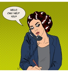 Businesswoman speaking on the phone at office vector