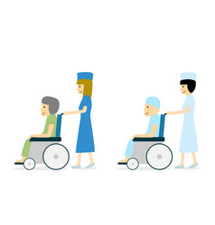Cancer patient on wheelchair and nurse vector