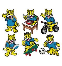 cartoon character set of cute little wildcat vector image
