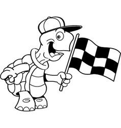 Cartoon turtle waving a flag vector image vector image
