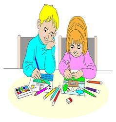 Children paint vector