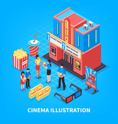 Cinematography isometric design concept vector