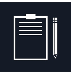 Clipboard with a pencil isolated on black vector