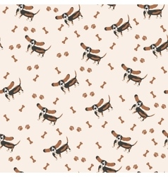 Dogs Seamless pattern Dog Basset Hound vector image