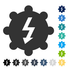 Electricity cog wheel icon vector