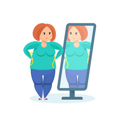 Full girl looks in mirror wanting to lose weight vector