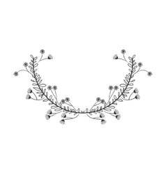 Gray scale decorative half crown floral branch vector
