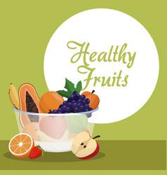 Healthy fruits bowl natural image vector