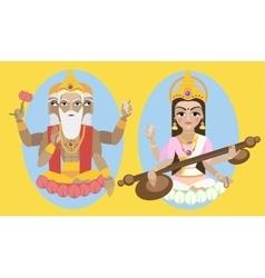 Lord brahma and sarasvati devi vector