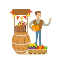 Man with stand of fresh vegetables farmer working vector