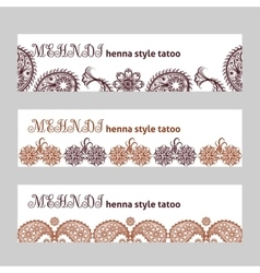 Mehndi web banners set vector