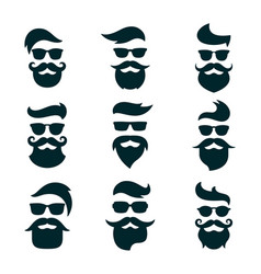 monochrome hipsters faces set with different vector image vector image
