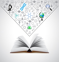 Opened book and many science icons above it vector