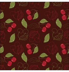 Ornate cherry pattern isolated on a broun vector image vector image