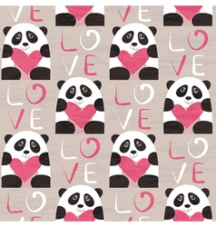 Panda with heart seamless pattern vector