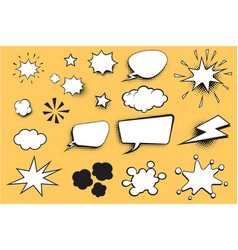 set comic bubble vector image