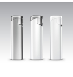 Set of blank white plastic metal lighters vector