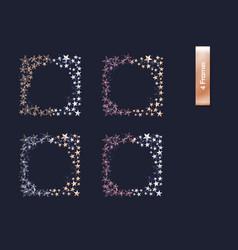set of rose gold gold silver cutout star borders vector image vector image