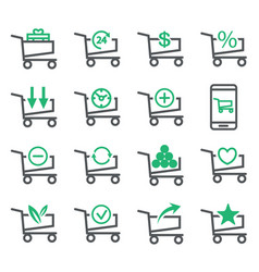 Set shopping cart isolated on white background vector