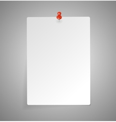 sheet of paper with red push pin vector image vector image