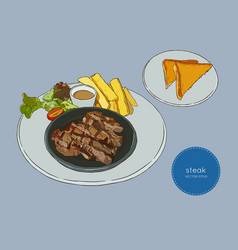 sliced beef steak hand draw sketch food vector image