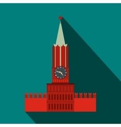 Spasskaya tower of moscow kremlin icon flat style vector