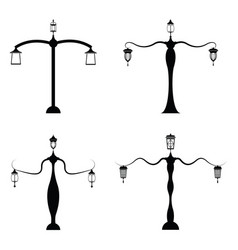 street lamp icon set vector image vector image