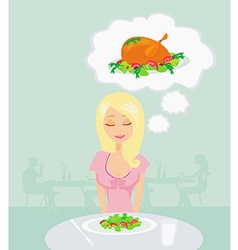 Thin girl is dreaming of a roast chicken vector image