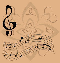 Treble clef and floating notes vector