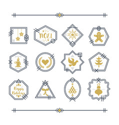 trendy golden and navy blue line christmas vector image vector image