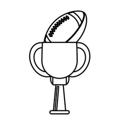 Trophy american football ball winner outline vector