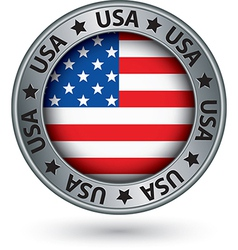 Usa silver label with state map vector