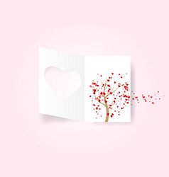 white valentines day card with hearts flying vector image