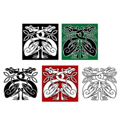 Wild birds in celtic ornament style vector image