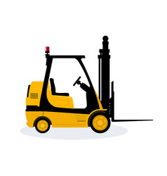 Yellow vehicle forklift vector