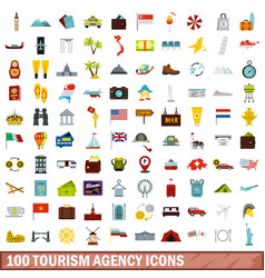 100 tourism agency icons set flat style vector