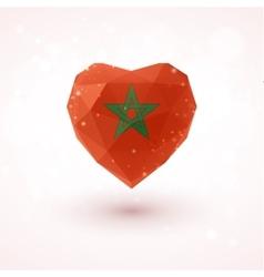 Flag of morocco in shape diamond glass heart vector