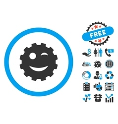 Wink gear smiley flat icon with bonus vector