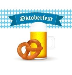 Bavarian beer mug with pretzel isolated on white vector