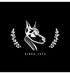 Logo symbol sign stencil dog head unique technique vector